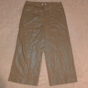 Andre Oliver Wide Leg Capri Pants Metallic Blue